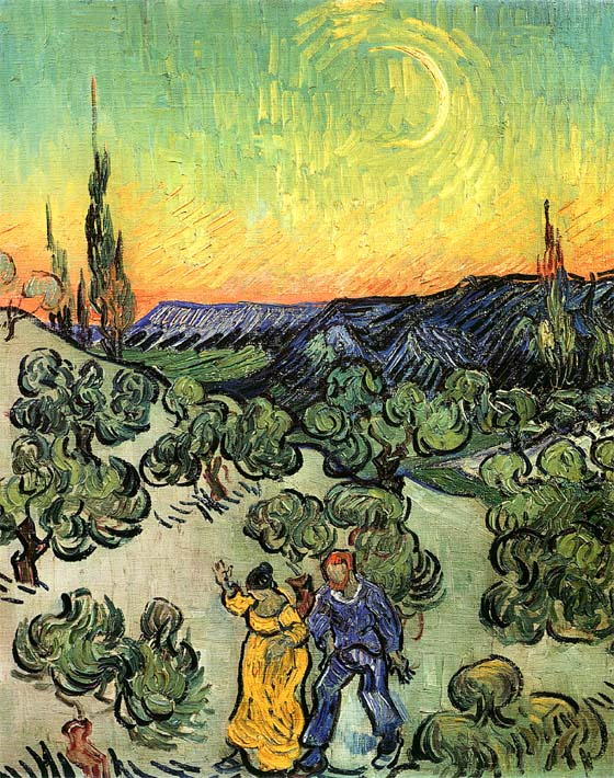Vincent van Gogh Landscape with Couple Walking and Crescent Moon stretched canvas art print