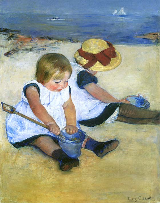 Mary Cassatt Children Playing on the Beach (detail) stretched canvas art print