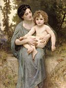 William Bouguereau Young Woman and Little Brother