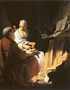 Rembrandt Van Rijn Two Scholars Disputing