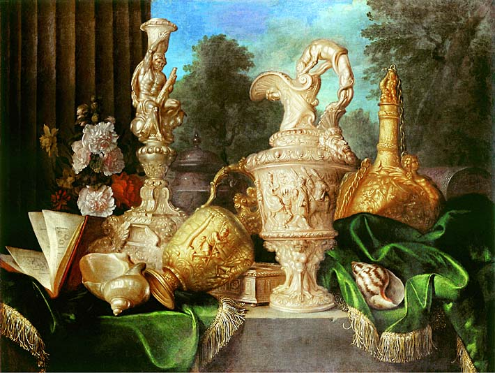 Meiffren Conte Still Life with Precious Vessels stretched canvas art print