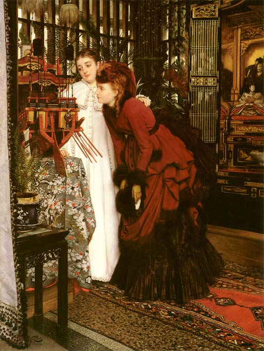 James Tissot Young Ladies Looking at Japanese Objects stretched canvas art print