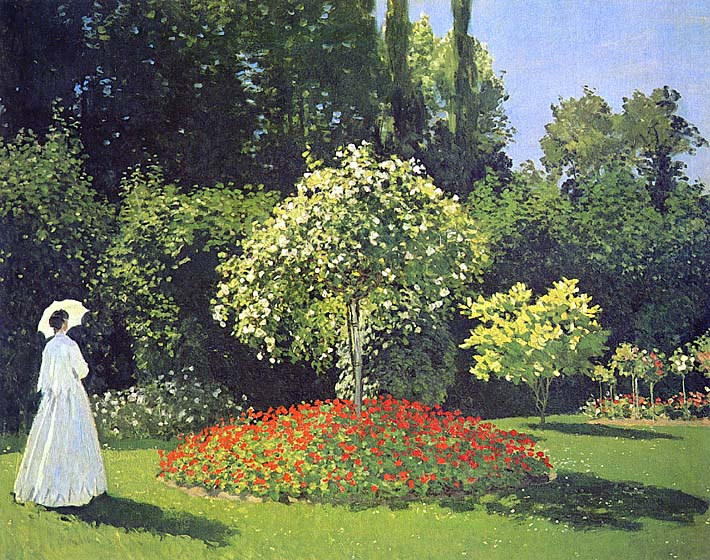 Claude Monet Jeanne-Marguerite Lecadre in the Garden stretched canvas art print