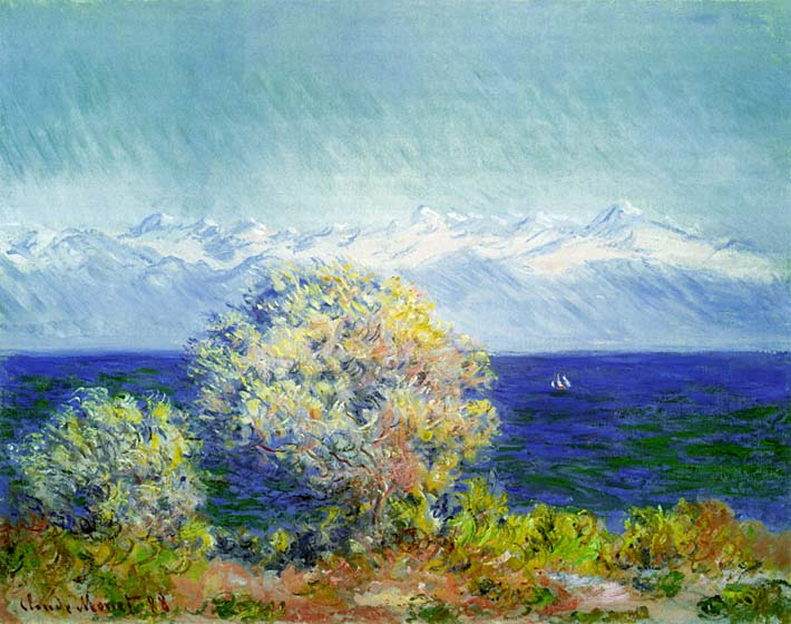Claude Monet At Cap d'Antibes, Mistral Wind stretched canvas art print