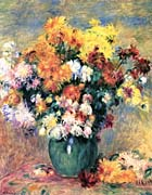 Pierre Auguste Renoir Chrysanthemums in a Vase