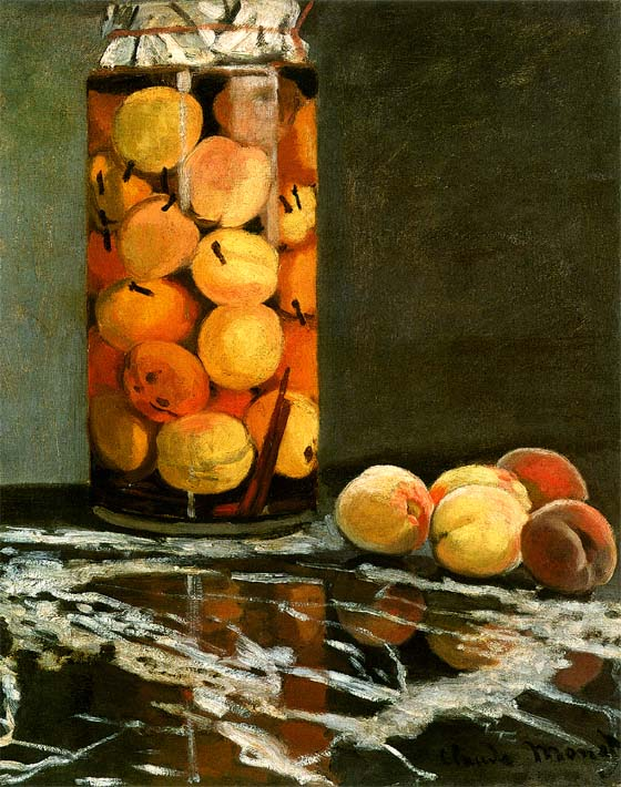 Claude Monet Jar of Peaches stretched canvas art print