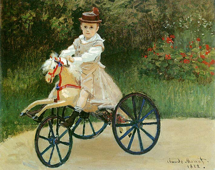 Claude Monet Jean Monet on his Horse Tricycle stretched canvas art print