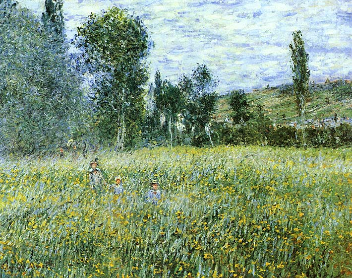 Claude Monet A Meadow Outside Vetheuil stretched canvas art print