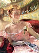 Mary Cassatt Lydia in a Loge Wearing a Pearl Necklace