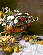 Claude Monet Still Life Flowers And Fruit canvas prints
