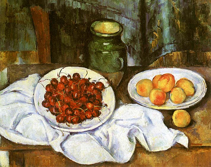 Paul Cezanne Still Life with Cherries and Peaches stretched canvas art print