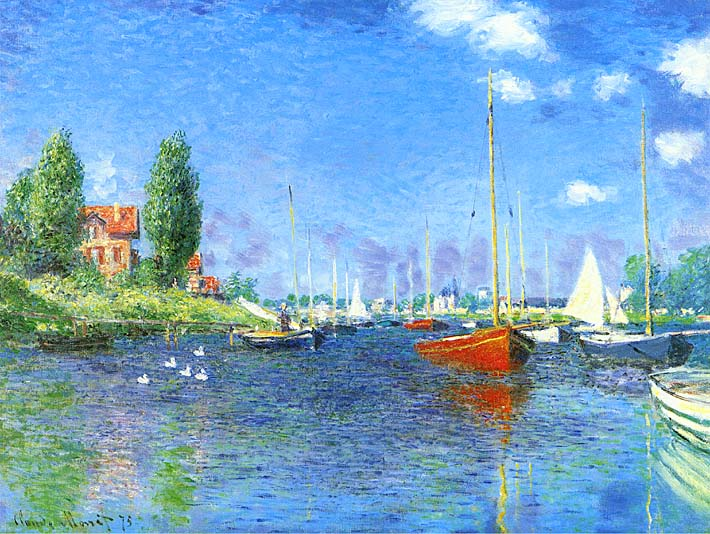 Claude Monet Red Boats, Argenteuil 1875 stretched canvas art print