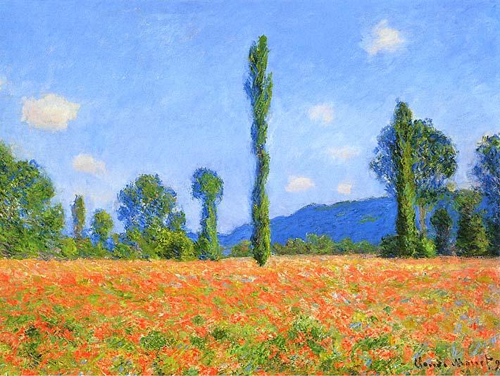 Claude Monet Poppy Field stretched canvas art print