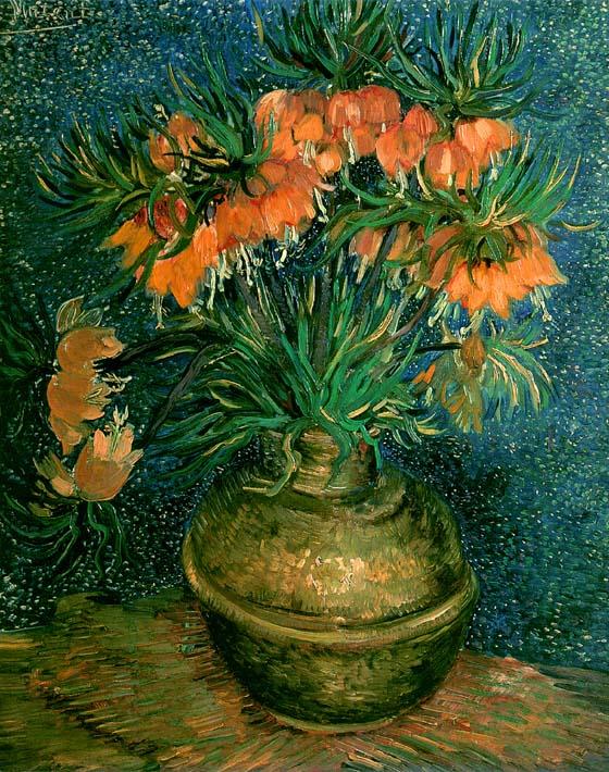 Vincent van Gogh Fritillaries in a Copper Vase stretched canvas art print
