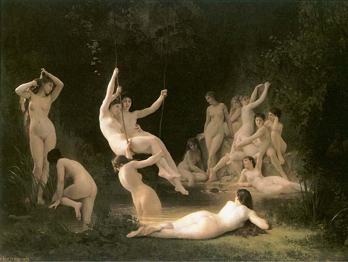William Bouguereau The Nymphaeum stretched canvas art print