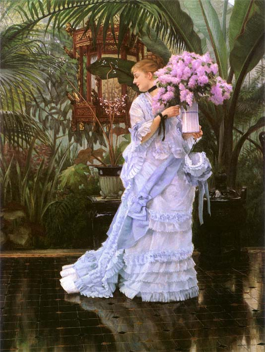 James Tissot The Bunch of Lilacs stretched canvas art print