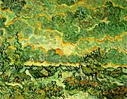 Vincent Van Gogh Cottages and Cypresses: Reminiscence of the North