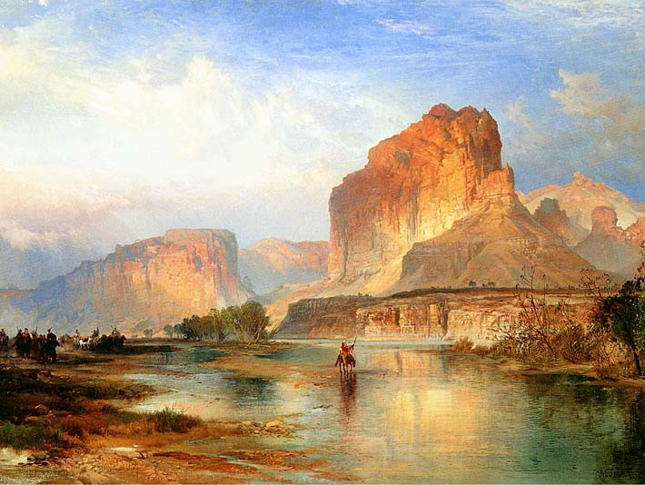 Thomas Moran Cliffs of Green River stretched canvas art print
