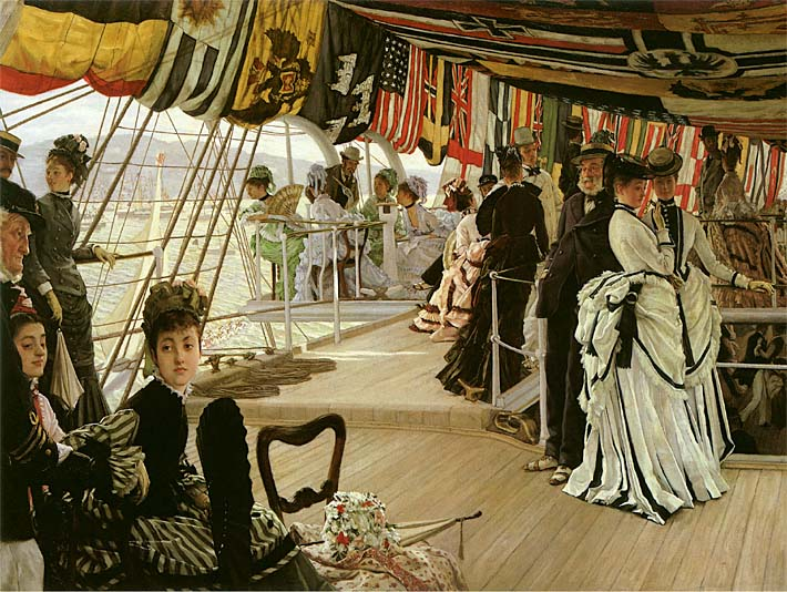 James Tissot The Ball on Shipboard stretched canvas art print