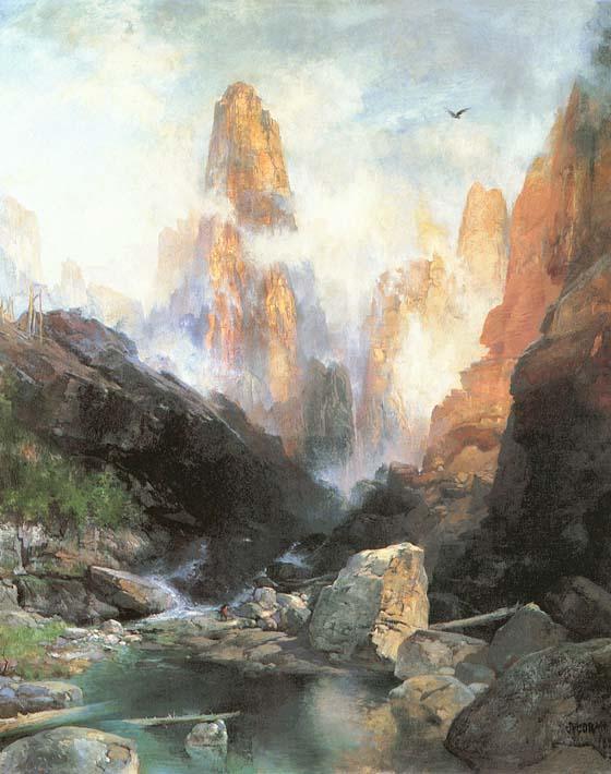 Thomas Moran Mist in Kanab Canyon, Utah stretched canvas art print