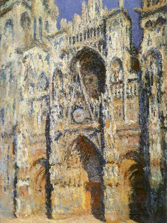 Claude Monet Rouen Cathedral, The Portal and the Tour Sainte-Romain, Full Sunlight: Harmony in Blue and Gold stretched canvas art print