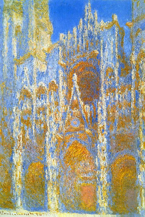 Claude Monet Rouen Cathedral, Sunlight Effect stretched canvas art print