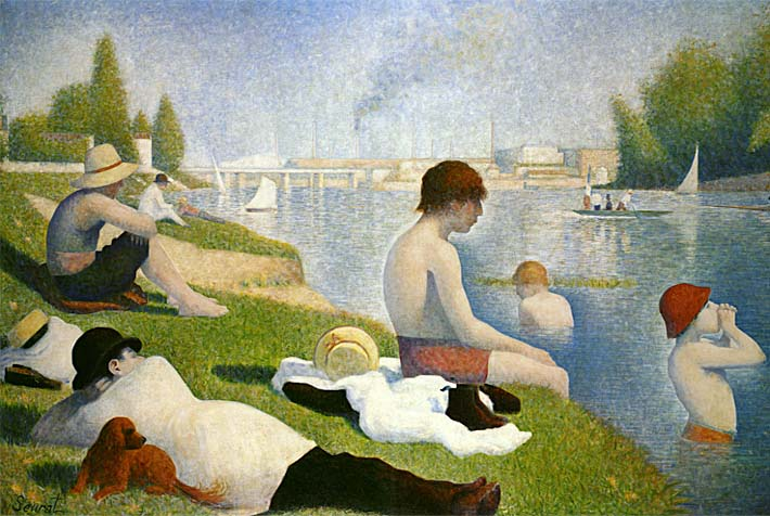Georges Seurat Bathers at Asnieres (detail) stretched canvas art print