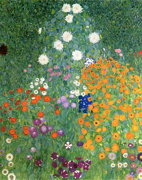 Gustav Klimt Farm Garden (portrait detail) stretched canvas art print