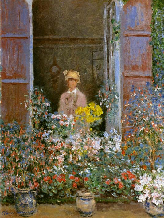 Claude Monet Camille Monet at the Window stretched canvas art print