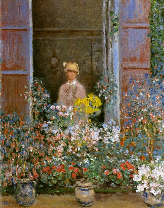 Claude Monet Camille Monet at the Window 1873 stretched canvas art print