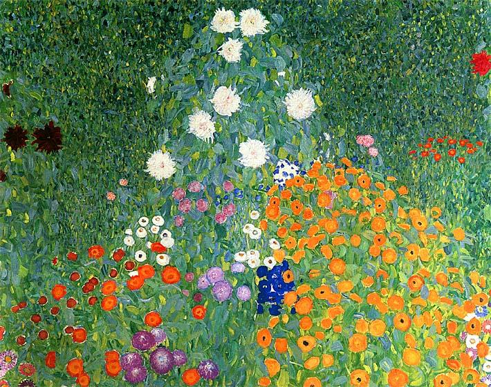 Gustav Klimt Farm Garden (detail) stretched canvas art print