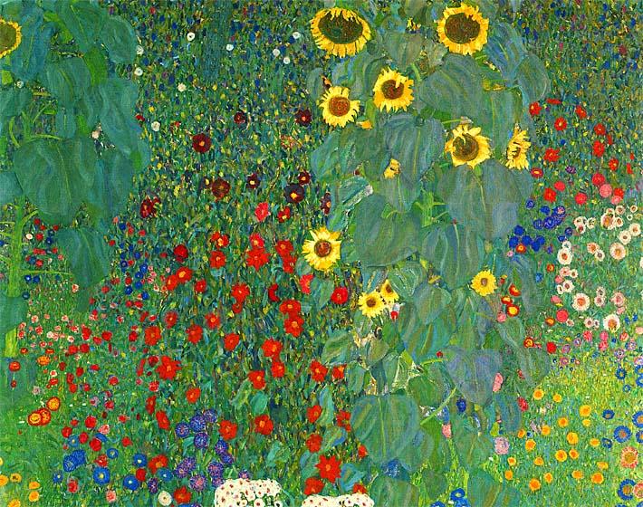 Gustav Klimt Farm Garden with Sunflowers (detail) stretched canvas art print