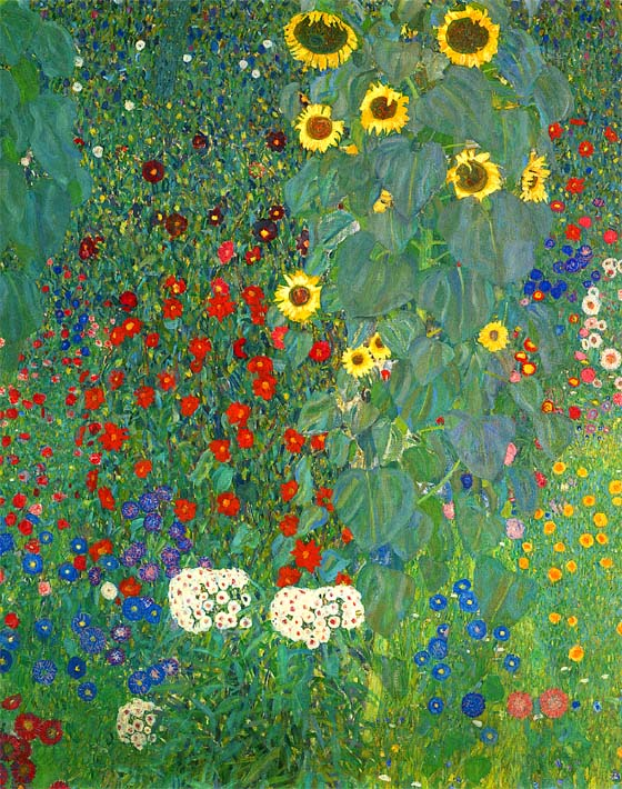 Gustav Klimt Farm Garden with Sunflowers (portrait detail) stretched canvas art print