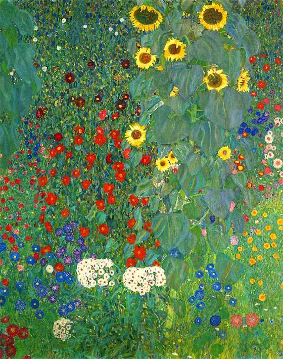 Gustav Klimt Farm Garden with Sunflowers (portrait detail) stretched canvas art print