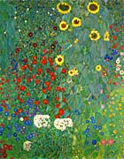 Gustav Klimt Farm Garden with Sunflowers (portrait detail)