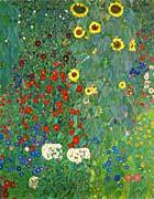 Gustav Klimt Farm Garden With Sunflowers Portrait Detail canvas prints