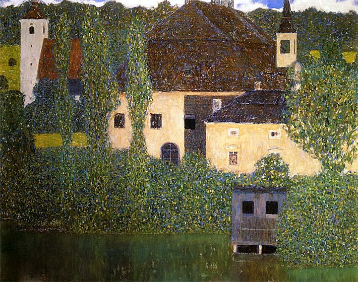 Gustav Klimt Schloss Kammer on the Attersee I (detail) stretched canvas art print
