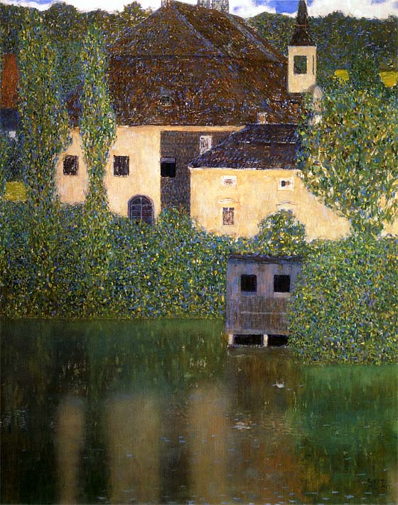 Gustav Klimt Schloss Kammer on the Attersee I (portrait detail) stretched canvas art print