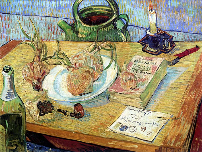 Vincent van Gogh Still Life: Plate with Onions, Drawing Board, Pipe and Other Objects stretched canvas art print