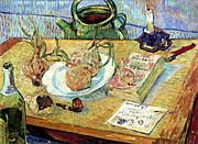 Vincent van Gogh Still Life: Plate with Onions, Drawing Board, Pipe and Other Objects