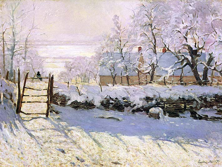 Claude Monet The Magpie, Snow Effect stretched canvas art print