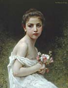 William Bouguereau Little Girl with a Bouquet