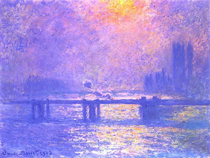 Claude Monet Charing Cross Bridge, la Tamise stretched canvas art print