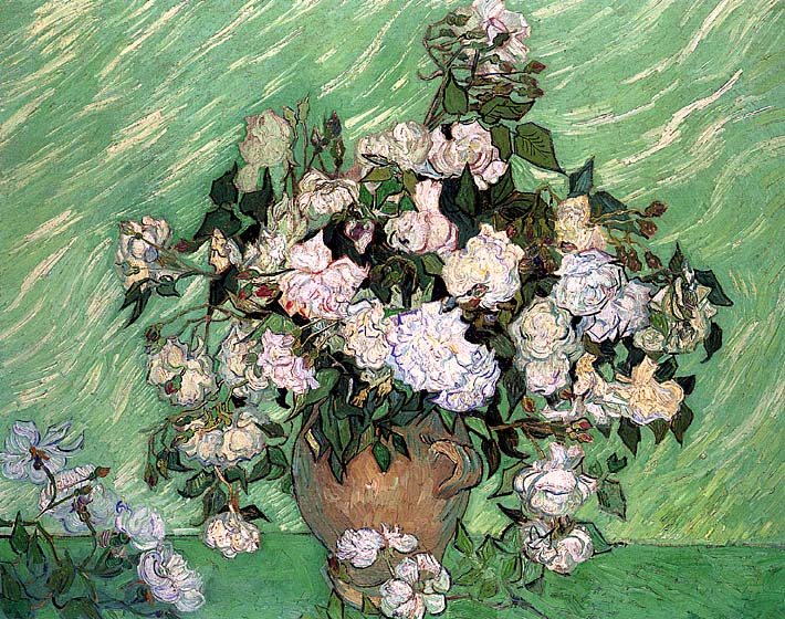 Vincent van Gogh Vase with Pink Roses I stretched canvas art print