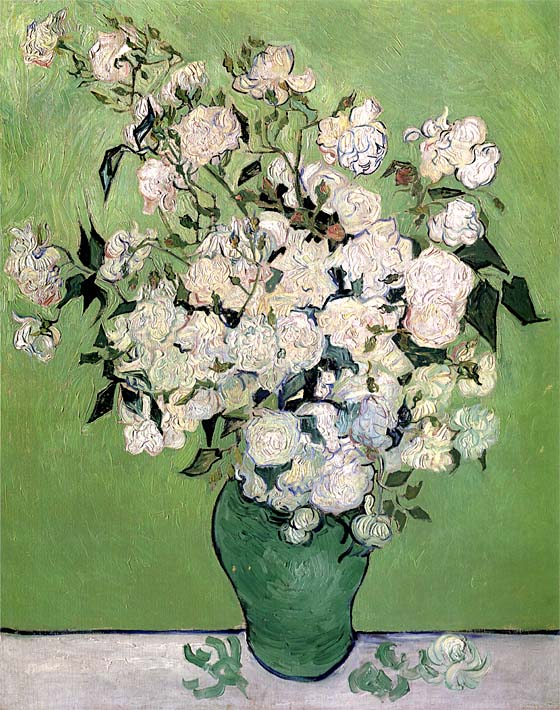 Vincent van Gogh Vase with Pink Roses II stretched canvas art print