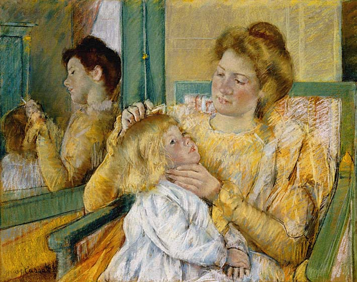 Mary Cassatt Mother Combing Her Child's Hair stretched canvas art print
