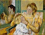 Mary Cassatt Mother Combing Her Childs Hair canvas prints