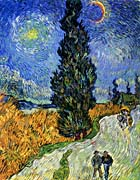 Vincent Van Gogh Road with Men Walking, Carriage, Cypress, Star and Crescent Moon