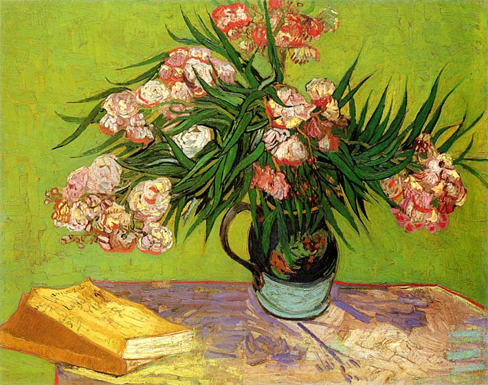 Vincent van Gogh Majolica Jar with Branches of Oleander stretched canvas art print