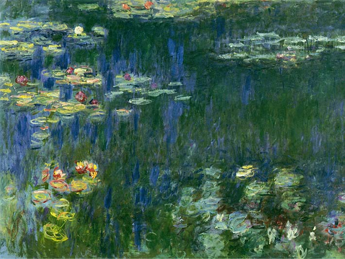 Claude Monet Green Reflections I (left detail) stretched canvas art print